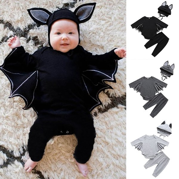 Toddler Kids Clothing Baby Boys Girls Long sleeve Halloween Cosplay Costume Romper Cartoon Bat Ear Hat Outfits Set 6M-24M