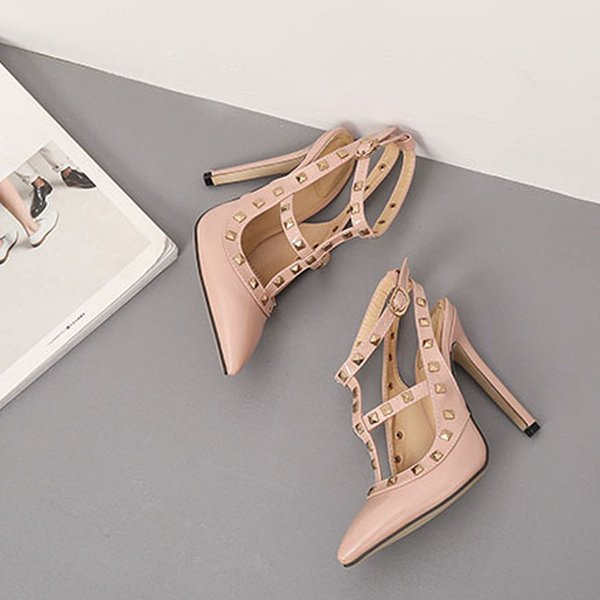 2019 Design High Quality Fashion Party Dress Sexy Rivet High Heels Women Shoes For Girls Free Shipping