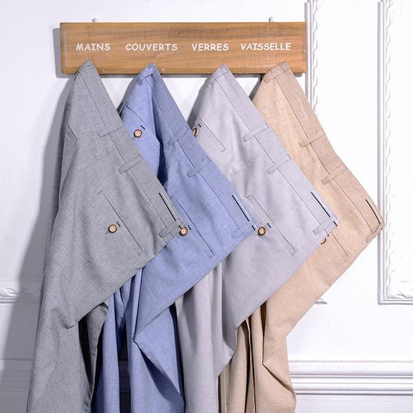 Fit Lino Slim Lin Cremallera De Para Caqui Rectos Otoño Hombre Moda Pantalon Verano Compre Casuales Pantalones Hombres 8wqRHxF