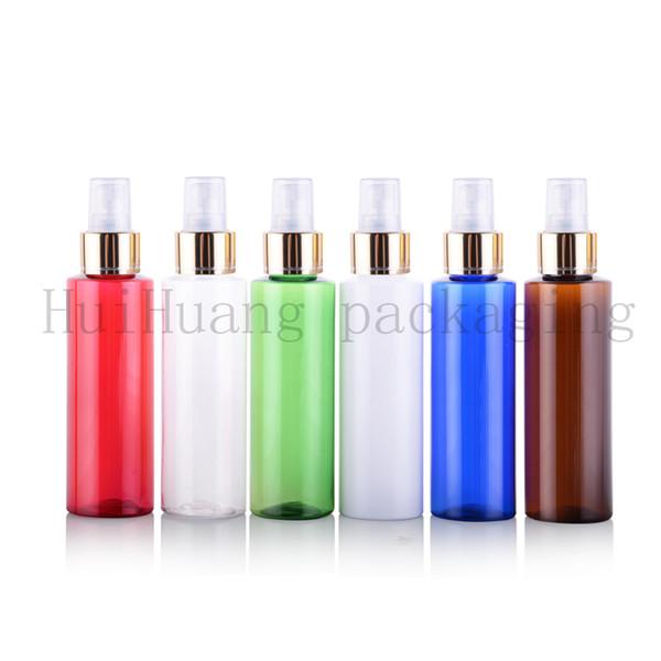 50pcs 100ml bouteilles vides pour les parfums, 100cc PET bouteille blanche avec pompe de pulvérisation de collier d'or, une bouteille de pulvérisation fine brume
