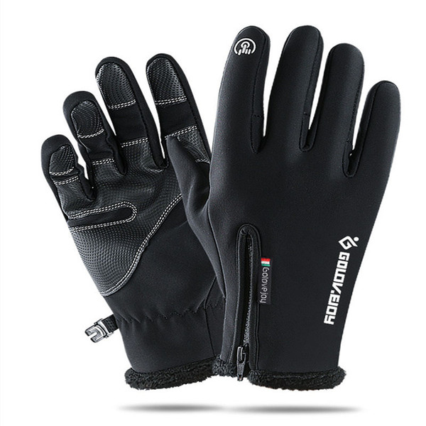 Outdoor waterproof gloves winter touch screen windproof thermal cycling for men and women refers to the zipper sport with fleece mountaineer