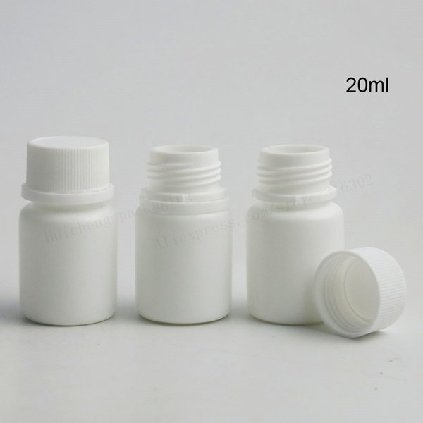 100 X 20ml HDPE Solid White Pharmaceutical Pill Bottles For Medicine Capsules Container Packaging
