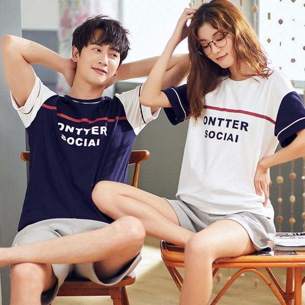 Pyjama couples d'été version coréenne de coton pur frais ensemble deux pièces ensemble de occasionnels lâche Home Wear étudiant fille