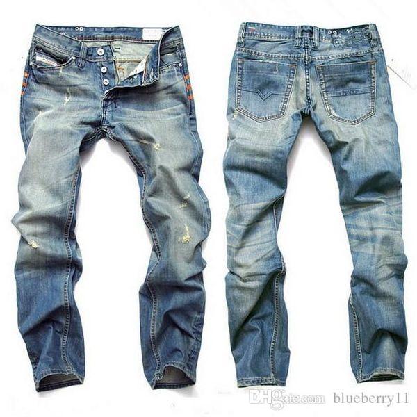 Pantalones de mezclilla de moda para hombre jeans de color azul claro para hombre pantalones vaqueros rectos casuales para hombre, talla 28-42