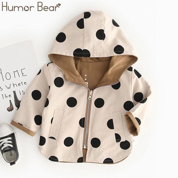 Humor Bear 2019 Jacket &Coat Fall Hooded Boys Windbreaker Jacket Polka Dot Two Sides Wear Toddler Kids Autumn Outerwear Clothes