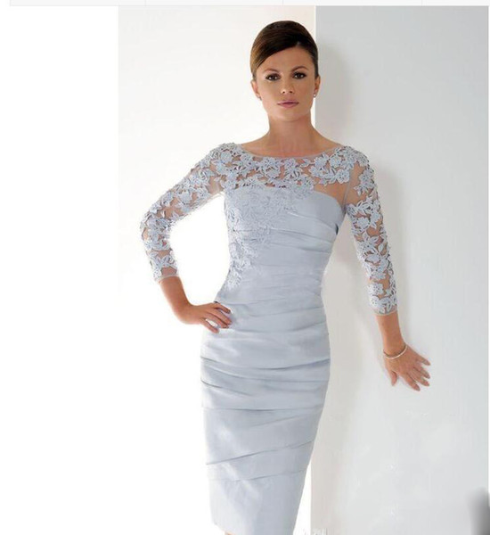 Mermaid Mother Of Bride Dresses 2019 Crew Sheer Neck Illusion Long Sleeve Applique Lace Satin Knee Length Ruched Party Cocktail Prom Dresses