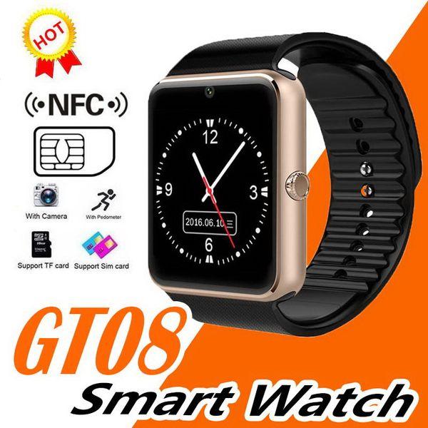 Smart Watch GT08 per Andriod Mobile Phone Orologio Bluetooth con SIM Card Watch per IOS Wearable Device Phone Spedizione gratuita