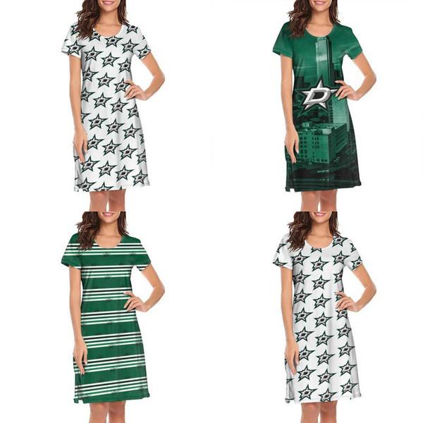 Womens design printing Dallas Stars stripe Gradient green white Lounger shirt dress designer champion slogan loungewear cute trendy