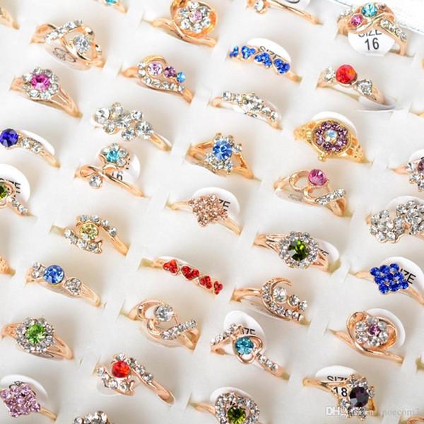 Bulk 30 pçs / lote Anéis De Cristal Colorido Para As Mulheres da Cor do Ouro Simples Strass Anéis de Noivado Anéis de Casamento