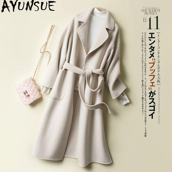 AYUNSUE 2019 Autumn Wool Coat Female Korean Long Jacket Women Overcoat Cashmere Ladies Coats Abrigos Mujer Elegante 1888 KJ2875