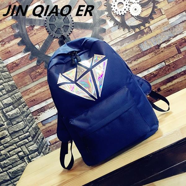 women canvas backpack school bag for girl High School College wind Geometric Laser Teenage big bookbags Summer bag Female