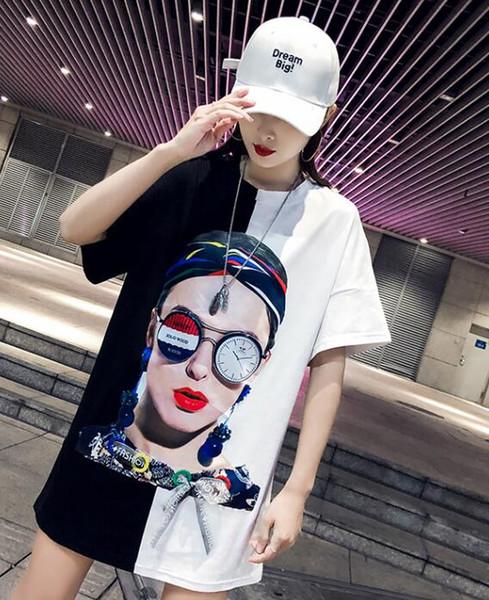 T-shirt à manches courtes femme section longue ample section été nouvelle marchandise européenne personnalité manteau grande version à manches courtes