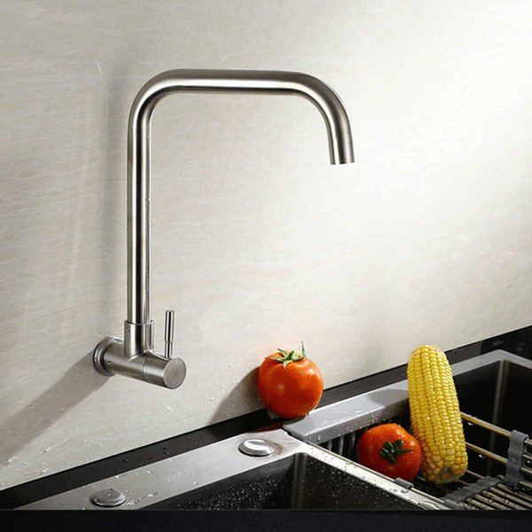 2019 Wall Mounted Kitchen Single Cold Faucet Stainless Steel Brushed Sink  Water Tap 360 Degree Rotatable Quality Tapware From Qqq541278, $33.42 | ...