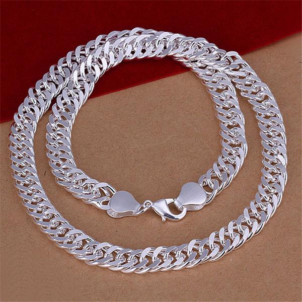 Banhado a prata esterlina colar 20INCHS * jóias 10M Lateral Colar DHSN039 Top venda 925 Chains placa de prata colares dos homens 10MM