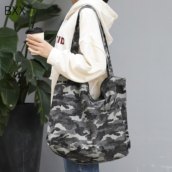 [bxx] camouflage canvas crossbody bags for women 2020 spring casual large capacity shoulder messenger bag female handbags hk609 thumbnail