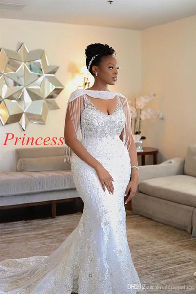 Sposa sexy abito da sud Custom African della sirena Weddding Dreses principessa della nappa perline di cristallo Appliqued merletto Vintage Bridla abiti