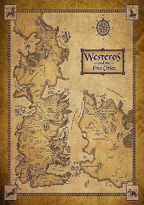 Game Of Thrones Casas Mapa Westeros / MAPA DO MUNDO Art Silk Poster 24x36 polegada 24x43 polegada 4865