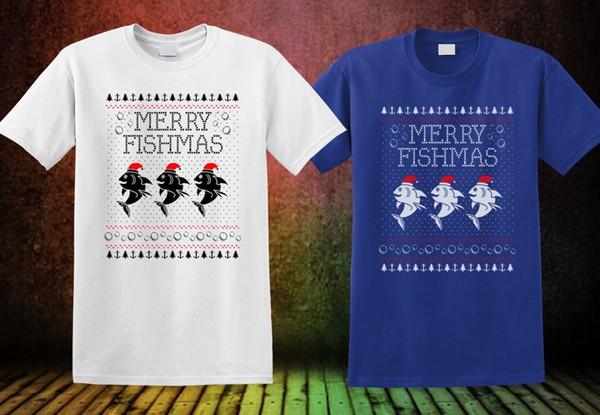 Merry Fishmas Balıkçılık Çirkin Noel T-Shirt Yeni Renk Inspired Tee Marka gömlek kot Baskı