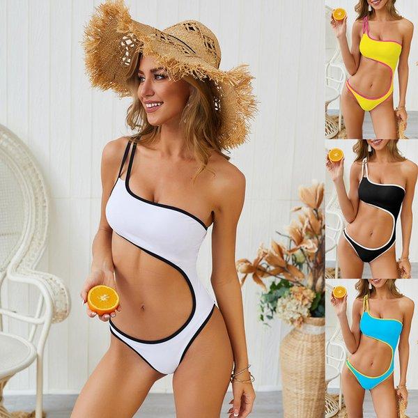 Trendy Giyim Yeni Mayo Kadınlar Seksi Bikini Yaz Tek Omuz Sevimli Bel Tek Parça Mayolar Plaj Bikini Moda Şık Mayo