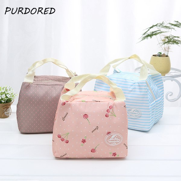 PURDORED 1 pc Pink Cherry Lunch Bag Women Insulated Stripe Picnic Carry Case Thermal Portable Lunch Box Bag Dropshipping