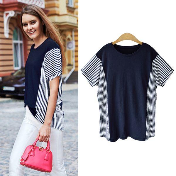Manga corta - camiseta de manga corta a rayas de verano para mujer camisa de base suelta delgada adelgazamiento superior de mujer de gran tamaño