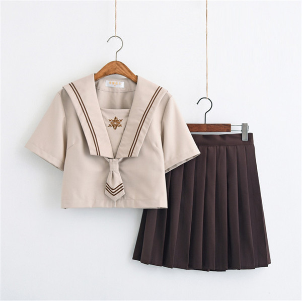 Summer clothes for women Japanese school uniforms lovely girl cosplay brown JK style 2 piece set women costume short sleeve