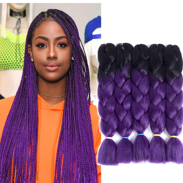 Wholesale Price Ombre Two Three Mix Colors Kanekalon Braiding Hair Synthetic Jumbo Braiding Hair Extensions 24inch Crochet Braids Hair Bulk