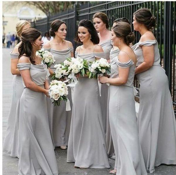 Cheap Grey Long Bridesmaids Dresses 2019 New Floor Length Spaghetti Off The Shoulder Chiffon Bridesmaid Dress wedding gowns