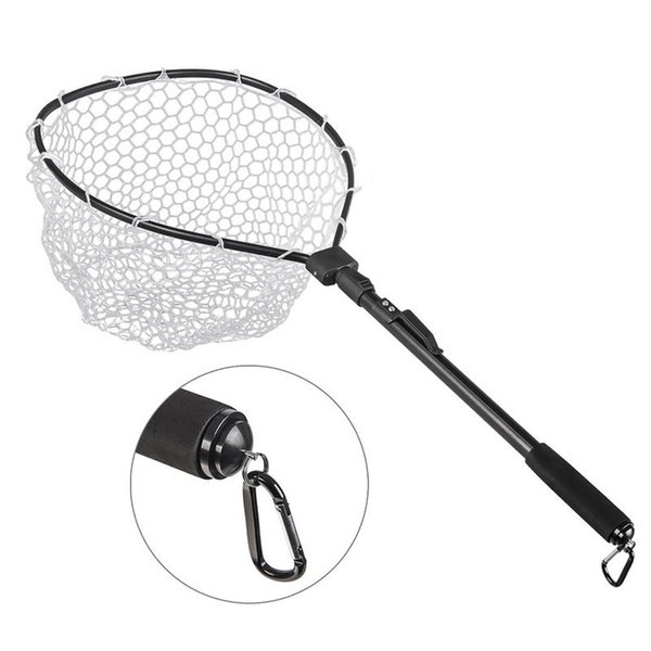 New Black Aluminum Alloy Flying Fishing Net With Fast Folding Hand-made Net In 2019 Natural Rubber Mesh Foldable Pole