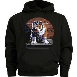 Big and tall sweatshirt for men tough guy bulldog decal hoodie bigmen Short-Sleeve