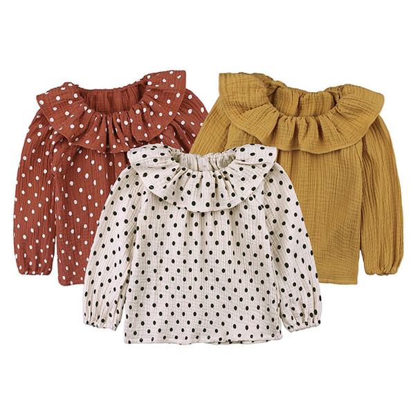Mädchen Dot Print Rüsche Kragen Tops Herbst 2018 Kinder Boutique Kleidung Kleine Mädchen Baumwolle Leinen Lange Ärmel Lässige T-Shirt Bluse