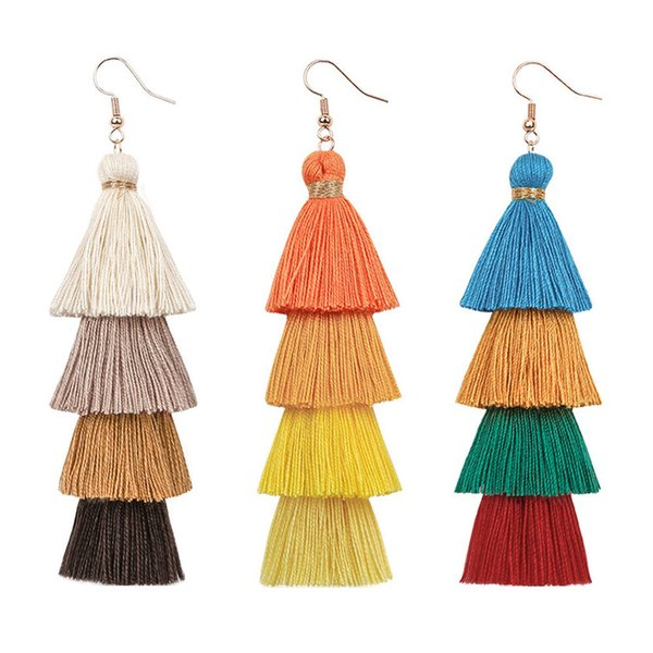Longue Tassel Boho Earings Mode Femme Goutte Dangle style ethnique frangée Stacked Earing Lady Party Bijoux Cadeaux de mariage TTA1299-14