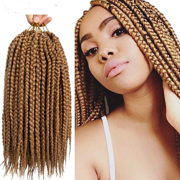 Hot Sale! Ombre Synthtic Black Brown 14 18 Inch Micro Crochet 3X BOX Braids Hair Extension 24 Roots hair Braiding for Black Women
