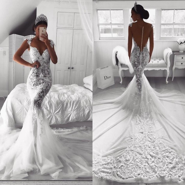 2020 New Arrival Mermaid Wedding Dresses Sweetheart Summer Lace Appliques Cap Sleeves Sheer Button Back Plus Size Wedding Dress Bridal Gowns