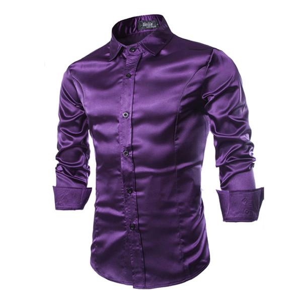 New Silk Satin Shirt Men Chemise Homme 2017 Fashion Mens Slim Fit Long Sleeve Emulation Silk Button Down Dress Shirts RMQ667