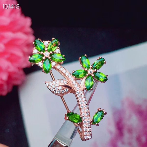 Flower Natural And Real Diopside brooch Free shipping Natural real Diopside 925 sterling silver brooch
