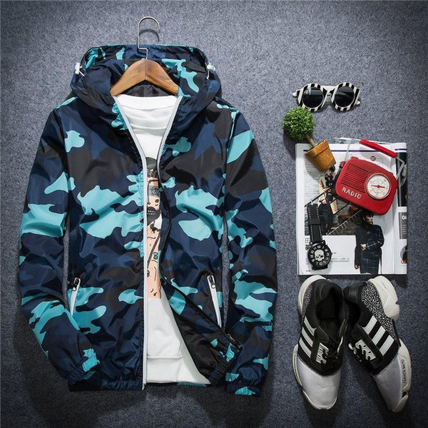 Jacket Casual Windbreaker for Men Long Sleeve Mens Jackets Fashion Zipper Pocket Hoodie Coat Camouflage Jackets Plus Size M-5XL