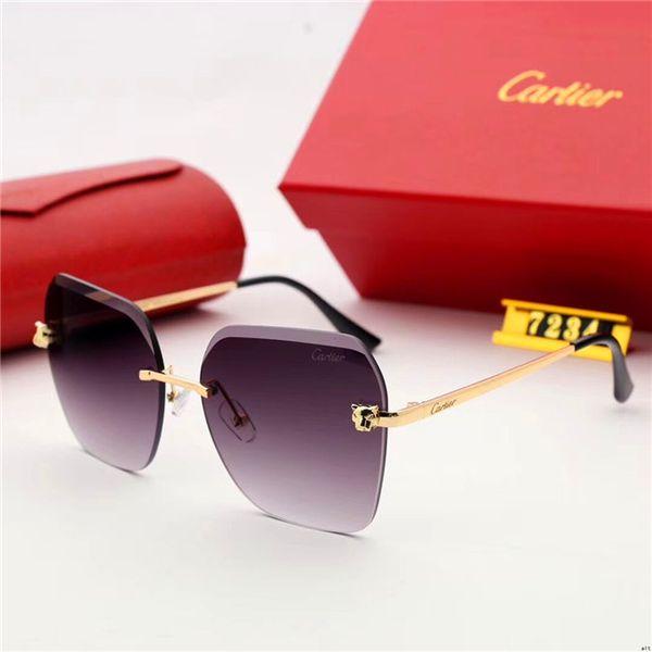 Marcas de lentes de vidrio de alta calidad Gafas de sol Hombres Mujeres Marco de metal 58MM 62MM Tendencias Gafas vintage Flat 10 Color Mirror UV400 Pilot Cases Box
