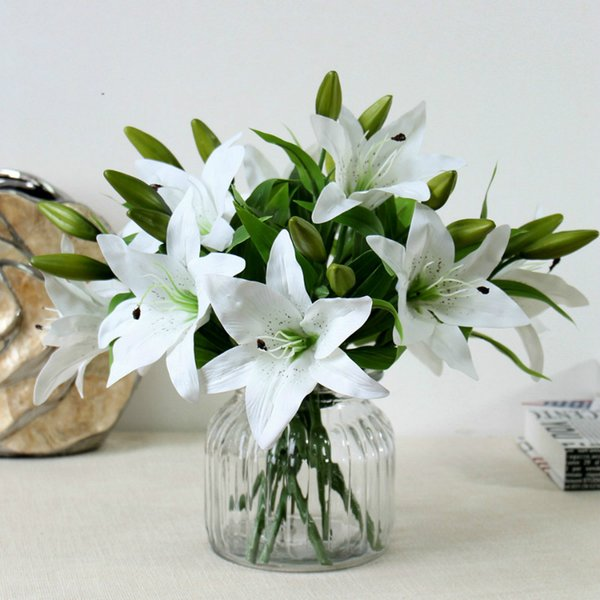 1Pc(1 Flower + 2Buds) Pu Perfume Lily Fresh Style Desk Ornaments Artificial Flowers Real Touch Latex Flowers Home Decor Wedding Decor