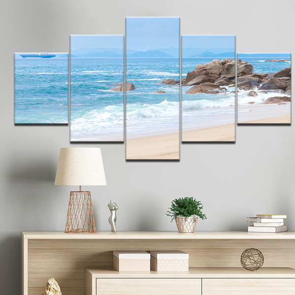 HD Print Canvas Wall Art Pictures Modern Living Room 5 Panel Beach Blue Sea Reef Decor Poster 5 Pieces Painting Frame
