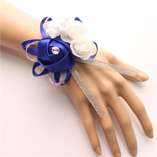 Soie Roses Blanc Poignet Corsage Poignet Fleurs pour Demoiselles D'honneur Fleur Bracelet Rose Bleu Mariée Sœurs Accessoires De Mariage