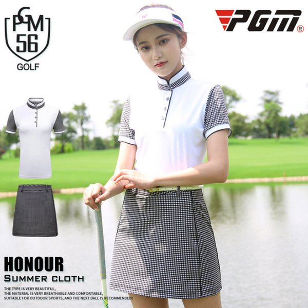 PGM new Women's golf Skirt Summer outdoor Golf shirt woman lattice skirts high quality fashion suit lady summer set