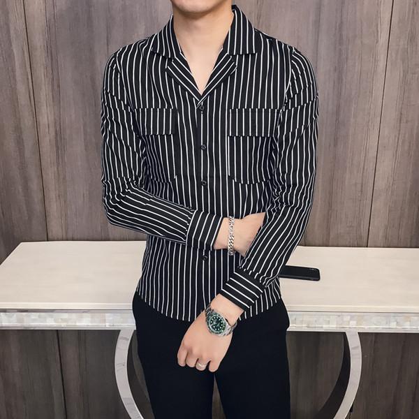 2019 Spring New Summer Money Man Korean Edition Slim Shirt Youth Nightclub Fashion Pocket Stripe Long Sleeves Shirt
