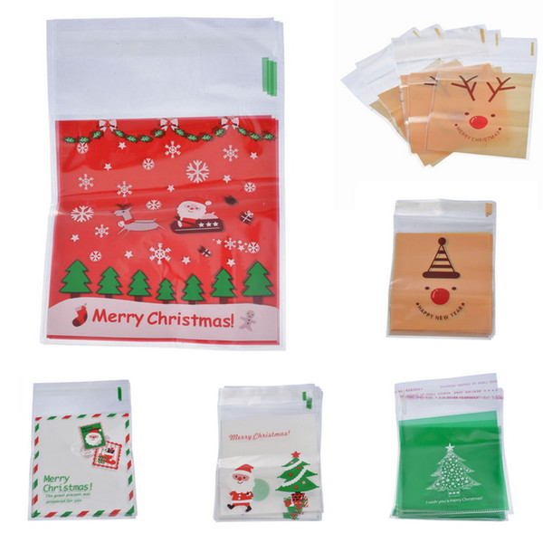 Christmas Self Sealing Bags Plastic Candy Cookies Pouch Gift Bags Self Adhesive Resealable New Year Gift Bag Pouch Hot Sale 500PC