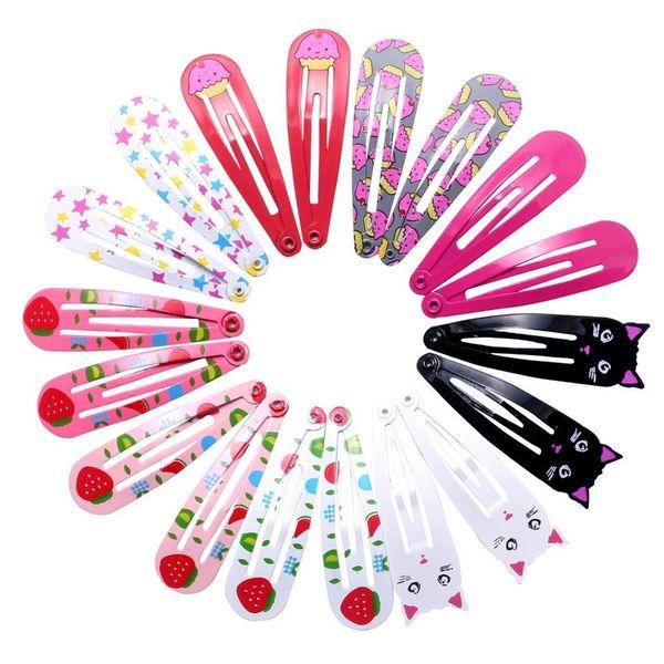 18pcs 5cm Hairpins Snap Hair Clips for Children Girls Hair Accessories Baby Cute Hair Clip Pins Cat Color Metal Printed Barrette