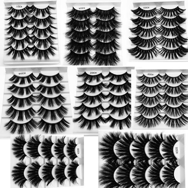 8 stil 5 paare / los 25mm 3D Nerz Wimpern Natürliche Lange Falsche Wimpern Dramatische Volumen Gefälschte Wimpern Makeup Wimpernverlängerung Silk Wimpern