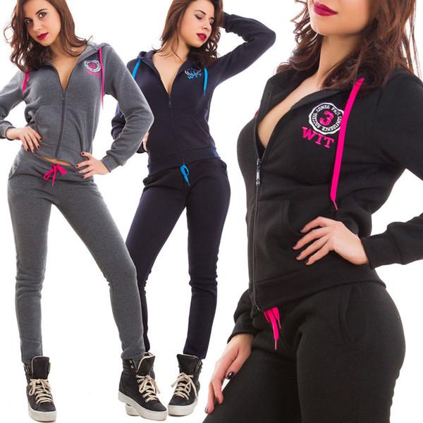 2019 Printemps Survêtement Femmes Sportswear Deux Pièces Ensemble Sweats Sweat Pantalon Survêtement Costume Femme S-XL Fitness Vêtements de Sport