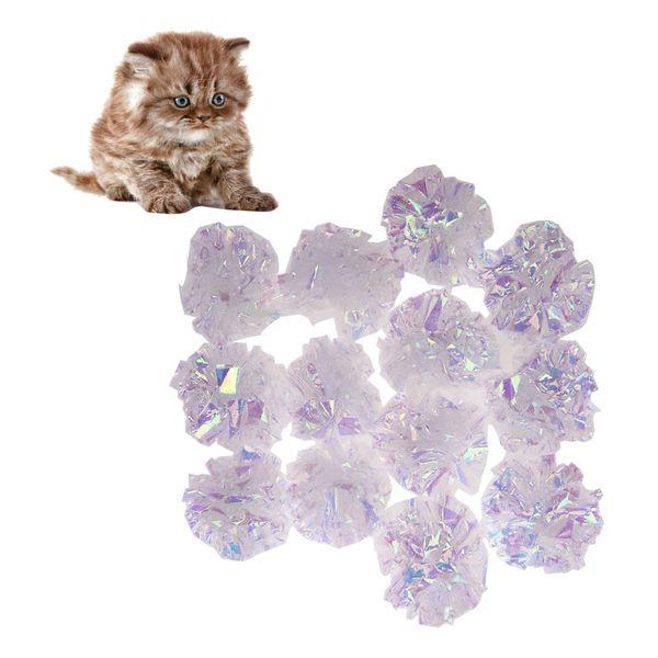 1 / 12Pcs Cat mylar Crinkle Balls Cat Toy Interactif Son Ballon Big Balls plastique Crinkle Crackle Anneau papier Kitten Pet Jouer Jouets