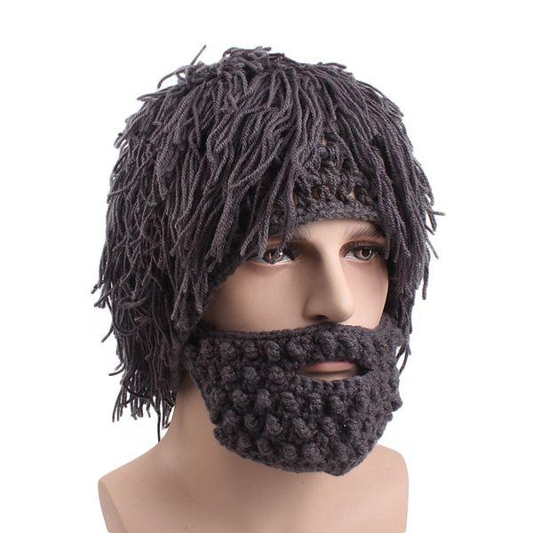 Wholesale Men Winter Tassel Knitted Crochet Mustache Hat Beard Beanies Face Bicycle Mask Ski Warm Cap Carnival Funny Hat Free Shipping
