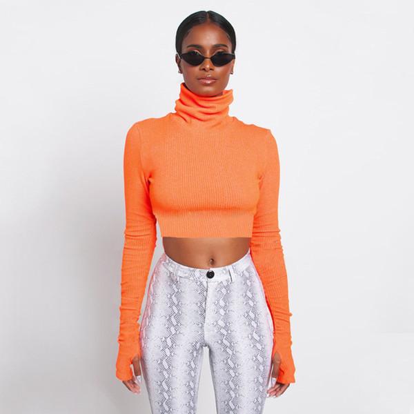 Hot style high-necked long-sleeved bottom shirt for women spring 2019 new slim short T-shirt wholesale women #12